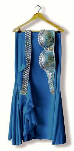 Conjunto para dança do ventre azul holográfico