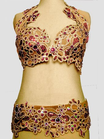 Conjunto para dança do ventre nude, vermelho e ouro