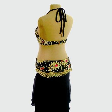 Figurino para dança do ventre preto, ouro e vermelho - costas