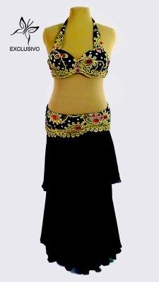 Figurino para dança do ventre preto, ouro e vermelho - frente