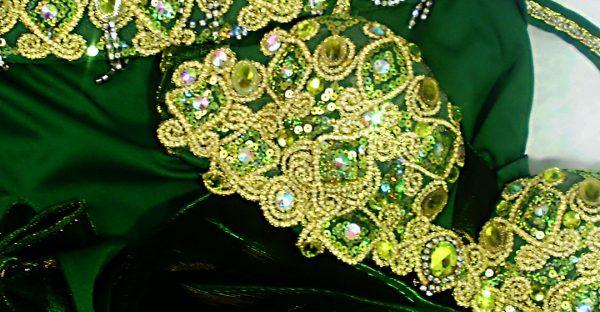 Figurino para dança do ventre verde sereia