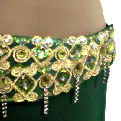 Figurino para dança do ventre verde sereia - cinturão