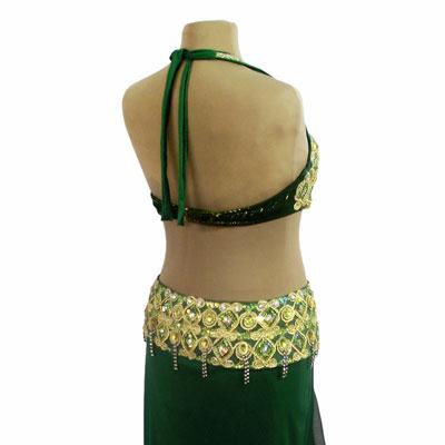 Figurino para dança do ventre verde sereia - costas