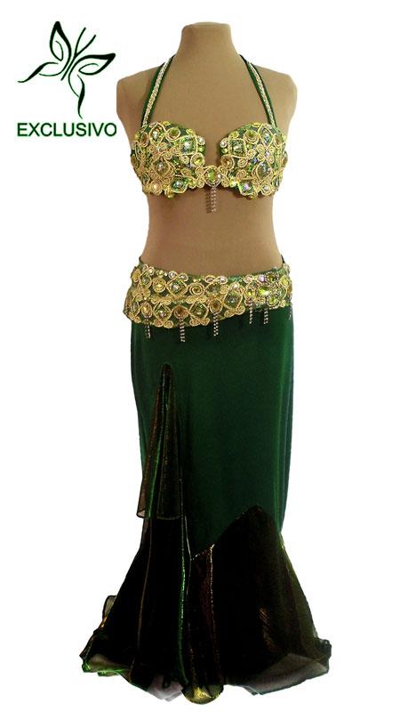 Figurino para dança do ventre verde sereia - frente