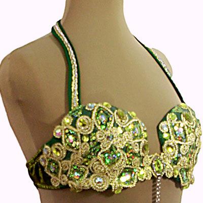 Figurino para dança do ventre verde sereia - soutien